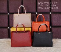 Wholesale Locking Block - Original Leather Women Fashion Totes block colors casual leather handbags small concise Totes factory price free shipping