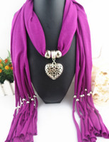 Women Jewelry Hearts Necklace Scarf Polyester fabric tassel accessories pendant scarf Peach heart pendant scarf LD