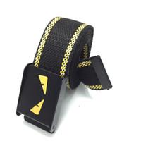 ingrosso cinghia elastica gialla-Aggiungi un pulsante automatico spesso per rilassare la cintura in tela da donna