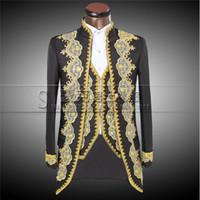 lüks düğün smokinleri toptan satış-Erkekler Için 2016 Yeni Lüks Nakış Kostümleri Düğün Suit Damat Klasik Kruvaze Takım Elbise Slim Fit Siyah Smokin Ceket Pantolon