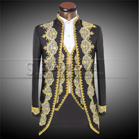 Wholesale Double Breasted Slim Fit Suits - 2016 New Luxury Embroidery Costumes Wedding Suit For Men Groom Classic Double Breasted Suits Slim Fit Black Tuxedo Jacket Pants