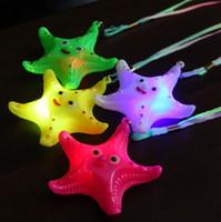 Wholesale Plastic Souvenirs - 48pcs  lot Super Favorite Souvenirs Child LED Luminous Plastic Starfish Necklace Mix Colors
