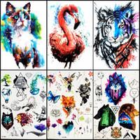 Wholesale Tattoo Women Arm - 21*15CM 6PCS LOT 3D HOT Watercolor Cat Blue Jay Wolf Lion Fox Temporary Tattoo Stickers For Women Female Men Waterproof Fake Flash Tattoos