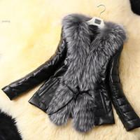Wholesale Cheap Black Overcoats - Wholesale-Cheap Women ladies Warm Winter Imitate Fur Coat Overcoat Faux Fox Fur Leather Coat Jacket Outwear Black M L XL XXL XXXL 50
