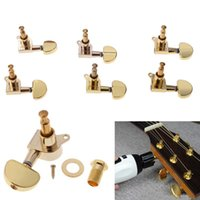 Wholesale Gold Tuning Heads - Gold Acoustic Guitar Machine Heads Knobs Guitar String Tuning Peg Tuner High Quality Guitar Accessories Tuning Pegs Tuners New
