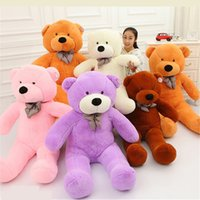 Wholesale giant christmas presents resale online - 100CM One Piece Soft PP Cotton Stuffed Bear Toy With Tie Giant Teddy Bears Plush Toys Girlfriends Christmas Presents Colors
