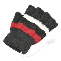 Wholesale Laptop Hand Warmer - Wholesale-Fingerless Woolen Laptop USB Heating Winter Warm Hot Hands Gloves Heated Warmer