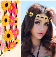 Wholesale Sunflower Headbands - Daisy Flowers Headband braided leather headbands bohemian hairband women floral hairbands beach sunflower hairband hair accessories in stock