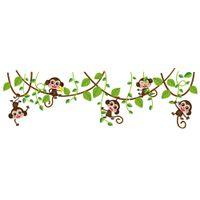 kreş duvar sanatı maymunları toptan satış-Yeşil Yapraklar Ağacı Şube Duvar Dekor ile yaramaz Maymun Maymun Ağacı oynayan Duvar Sanatı Duvar Sticker Çocuk Kreş Duvar Dekor