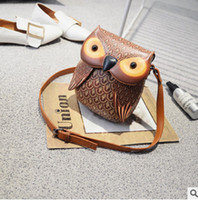Wholesale Pu Leather Owl Purses - Children bag vintage style girls owl messenger bag kids cartoon animal PU leather crossbody bag children purse santa claus gift R0595