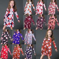kinder kleidet farben großhandel-Weihnachten neue Baby Kinder Mädchen Langarm gedruckt lose beiläufige Xmas Party Kleid 14 Farbe 5 Größe