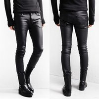 Wholesale Skinny Jeans Korean Style - Korean Style Black Skinny Jeans Men Coated Denim Pants Washed Long Pencil Pants Slim Fit Boots Jeans M L XL XXL