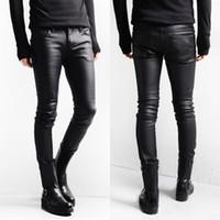 skinny jeans koreanischen stil männer großhandel-Korean Style Schwarz Röhrenjeans Männer Beschichtete Denim Hosen Gewaschen Lange Bleistifthosen Slim Fit Stiefel Jeans M L XL XXL