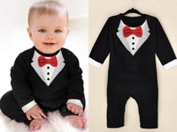 Wholesale New Baby Boy Tuxedo - 2017 New Born Boy Baby Formal Suit Tuxedo Romper Pants Jumpsuit Gentleman Clothes for Infant Baby Romper Jumpsuits