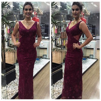 Wholesale Mae Noiva - Grape Lace Long Mother Of The Bride Dresses 2018 Mermaid V-neck Woman Elegant Mother Dresses Formal Evening Gowns Vestido Mae Da Noiva