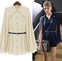Wholesale Chiffon Blouses Designs - 2016 New Women's High Street Famous Casual Brand Cape Style Design Single-breasted Chiffon Blouse Navy Beige