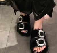 cuero genuino perla diamante al por mayor-Womne Pearl Slippers diseñador de cuero genuino Boutique de la marca de moda de calidad superior Elegante lujo Square hebilla de diamante de piel de las señoras zapatillas