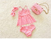 Wholesale girls flower underwear online - New Fashion Kids Swimsuit for Girls Flower Cotton Three piece Swimwear with Hat and Underwear Cute Children Swimming Suit