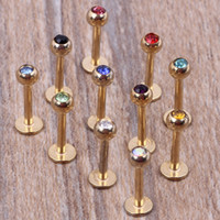 Wholesale Labret Bar Steel - Gold lip bar 100pcs lot mix 7 colors steel body jewelry piercing lip ring labret
