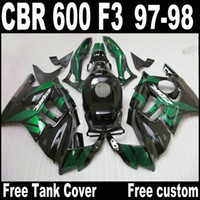 Wholesale Low Priced Cbr Fairings - Lowest price fairing kit for HONDA CBR600 F3 1997 1998 CBR 600 F3 fairings 97 98 black green motobike set QY64