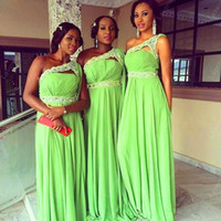 Wholesale Lime Green Dress Cheap - Lime Green Chiffon Bridesmaid Dresses 2015 One Shoulder Lace Beaded Long Custom Made Bridemaids Prom Gown Wedding Party Dresses Cheap