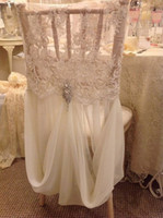 Wholesale Lace Chair - 2015 Feminine Ivory Lace Crystal Beads Hand Made Romantic Chiffon Ruffles Chair Sash Chair Covers Wedding Decorations Wedding Accessories