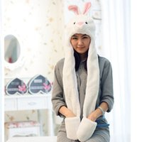 Wholesale Worm Gloves - Wholesale-2015 New Brand Autumn Hat For Women Husky Cartoon Panda Plush Hat Ear Cap With Gloves Long Worm Thicker Girls Hats SK80026
