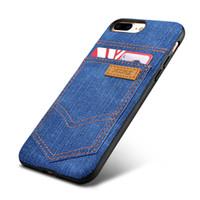 iphone vaqueiro venda por atacado-Moda Cowboy Jean Leather Silicone Back Case para Apple Iphone 7 8 / Plus Telefone Acessórios com titular de cartão externo