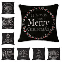 Wholesale Hand Painted Pcs - Christmas Cotton and linen Hand painted illustration Pillow case household sofa cushion cover Christmas Pillowcase decoration 100 pcs YYA785