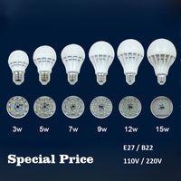 Wholesale Cheap 9w Led Lights - Cheap Price LED Light Bulbs E27 B22 3W 5W 7W 9W 12W 15W 110V 220V 5730 Warm Cold White LED Globe Bulb Lamp