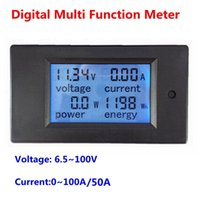 Wholesale Energy Monitor Meter - Wholesale-Digital Voltage ampere Power Energy meter monitor DC 6.5~100V 100A 50A Optional with LCD display Blue backlight