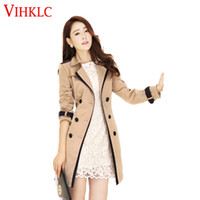 Wholesale women s korean trench coat - Wholesale- Women Trench Coat 2016 Spring Autumn Korean Slim Double-Breasted Coat Pure color Female Retro Casual Coat Plus Size 3XL L925
