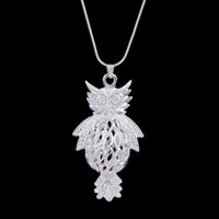 Wholesale 925 Silver Owl Wholesale - New Arrival Vintage Owl Necklaces 925 silver retro owl Snake necklace sweater chain owls necklace hot sall