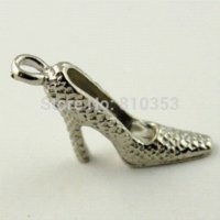 Wholesale Antique Shoe Horn - 09444 Antique Silver Tone Vintage Alloy Sexy High-heeled Shoes Fashion Jewelry Finding Pendant Charm 70PCS jewelry alexandrite