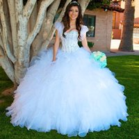 Wholesale Sweet Princess Strapless Embroidery - 2016 New Charming Quinceanera Dresses Crystal Princess Ball Gowns Appliqued Sweetheart Ruffled Cheap Sweet Sixteen Special Occasion Gowns