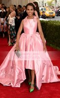 Wholesale Met Ball - 2015 Spring Kerry Washington Met Gala Ball Celebrity Dresses Sexy Backless Halter Hi-lo Appliques Pleats Pink Formal Evening Gowns EWL0126
