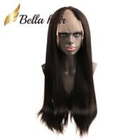 человеческие парики оптовых-Bellahair 130% 150% U часть парик шнурка с зажимами прямые перуанские парики волос 24 дюймов длинные прямые человеческие волосы кружева перед парики регулируемые