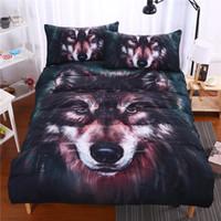 Wholesale leopard print cotton duvet cover - 3D Animal Leopard Rose Tiger Wolf Lion Bedding Bed Sheet Set Bedclothes Duvet Cover Pillow Case Sets Bedding Set 3 PCS