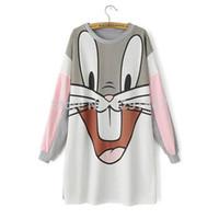 Wholesale Bugs Rabbit - 2015 New Autumn Winter Women Cartoon Rabbit Bugs Bunny Print Thick Warm Loose Mini Dress,Long Sleeve O-neck Cute Cartoon dress