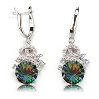 Wholesale Copper List - Promotion R709-B The new listing Wholesale Favourite Rainbow Cubic Zirconia Classic Silver Plated Earrings Time limited discount