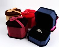 Wholesale Velvet Boxes Tie - Rings Box Jewelry Box Bow Tie Velvet Luxury Jewelry Boxes For Sale Wedding Gift Box Ring Stud Box 50Pcs Lot 2016 March Style