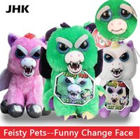 Wholesale Doll Face Products - Hot Sale Change Face Feisty Pets Plush Toys With Funny Expression Stuffed Animal Doll For Kids Cute Prank toy Christmas Gift
