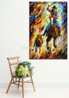 ingrosso pittura a olio eseguire cavalli-Palette Knife Oil Painting Cowboy Running Horse Immagine stampata su tela Home Hotel Wall Art Decor