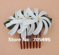 Wholesale Tiare Flower Wholesale - Wholesale-FREE SHIPPING Triple 4'' Artificial Hawaiian Tiare Foam Flower with Hair Comb