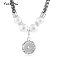 Wholesale Imitation Pearl Buttons - VOCHENG NOOSA Pearl Necklace 18mm Ginger Snap Interchangeable Jewelry Crystal Button Pendants NN-054