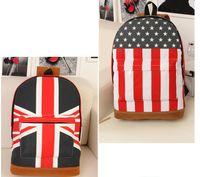 Wholesale Uk Flag Bag Man - Unisex Canvas Handbag Olympic American US UK Flag Star Banner Backpack School bags Schoolbag Free Shipping