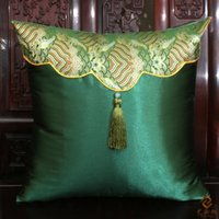 Wholesale Damask Cushion Covers - Happy Patchwork Tassel Pillow Cases Latest Chinese Style Damask Luxury High End Cushion Cover for Couch Chair Car Seat Festive Decorative