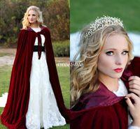 Wholesale Snow White Cape - Vintage Burgundy Velvet Snow Winter Wedding Bridal Cloak 2015 Sleeveless Floor Length Cheap Bridal Wrap Cape Shawl for Bride Custom Made