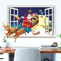 Wholesale Window Sticker Fake - Hot Merry Christmas decorations wall stickers Santa Claus render 3D effects fake window wallpaper party gift