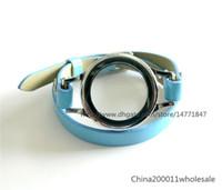 cintos de couro torcidos venda por atacado-1pcs Fechadura magnética Wrap Bracelet Locket com Twist Heirloom Face Pulseira de couro Wrap Locket com cinto azul claro (sem encantos)